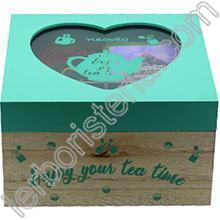 Tisa'lis Cofanetto in Legno Enjoy Your Tea Time Verde 4 Scomparti con Infusi e Tisane Bio