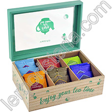 Tisa'lis Cofanetto in Legno Enjoy Your Tea Time Verde 6 Scomparti con Infusi e Tisane Bio