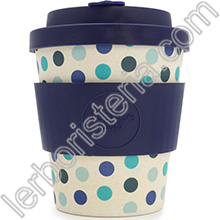 Ecoffee Cup Ecotazza Bambù Biodegradabile Blue Polka
